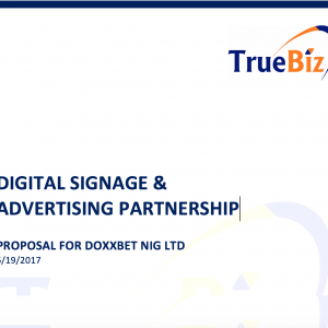 DIGITAL SIGNAGE &  ADVERTISING PARTNERSHIP  PROPOSAL